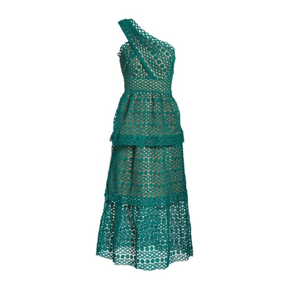 27c88f2eabed Self-Portrait Dresses | Selfportrait Green Chain One Shoulder Lace ...